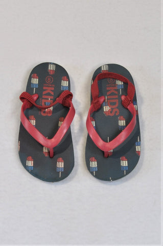 Cotton On Size 7 Navy Ice-Cream Flip Flops Shoes Boys 2-3 years