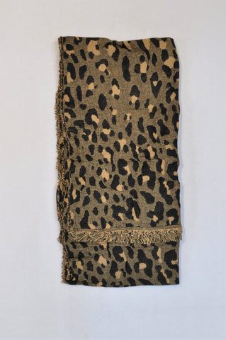 Country Road Black & Nude Leopard Print Scarf Women