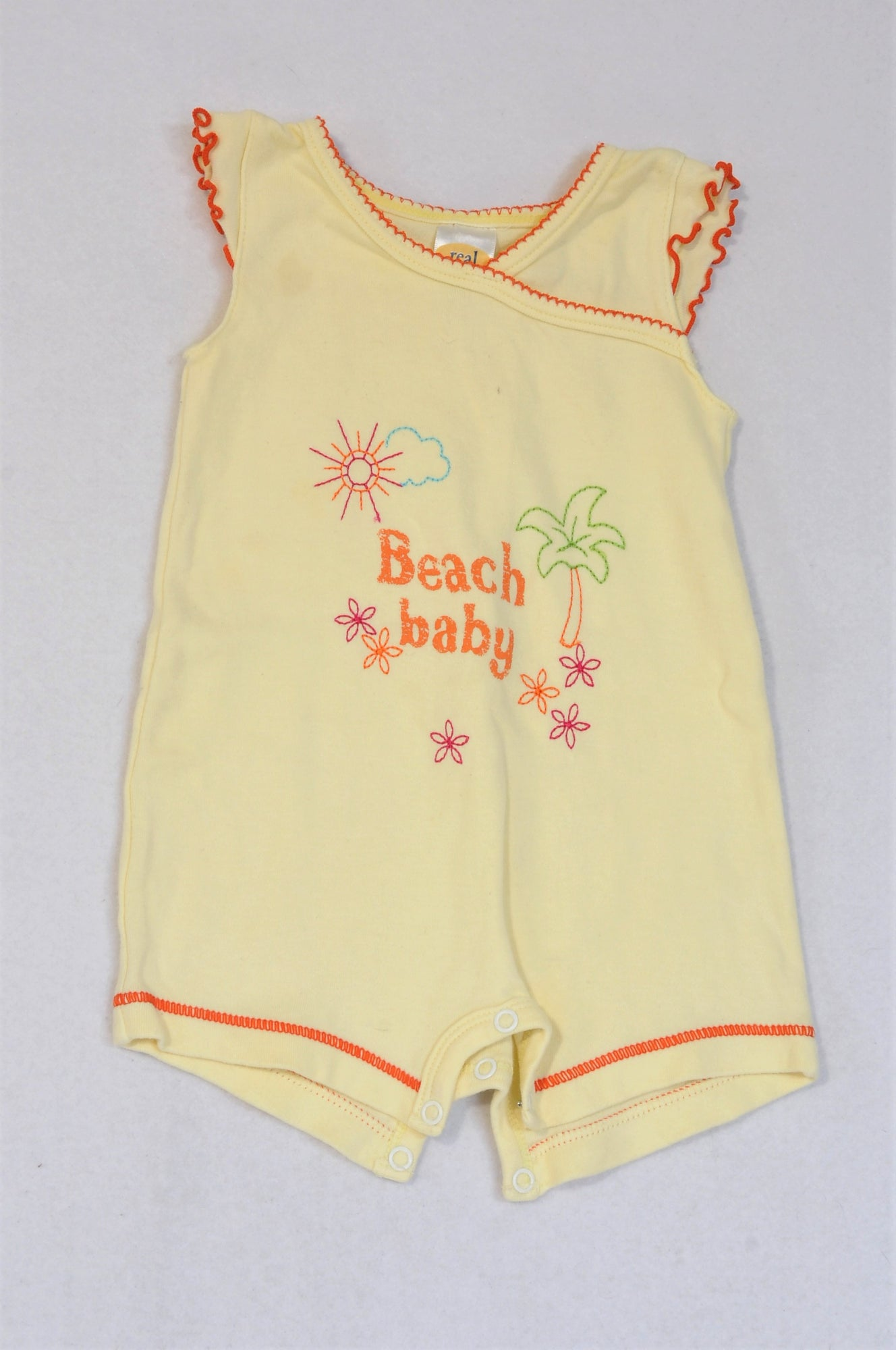 Real Baby Light Yellow Orange Trim Beach Baby Romper Girls 0 3 Month Once More