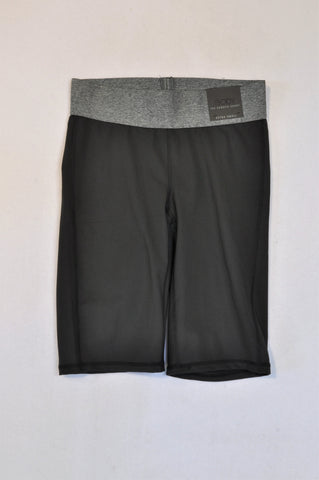 New Cotton On Black & Grey Heathered Band Gym Shorts Women Size XS