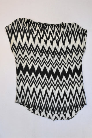Cotton On Black & White Zig Zag Pattern Blouse Women Size XS