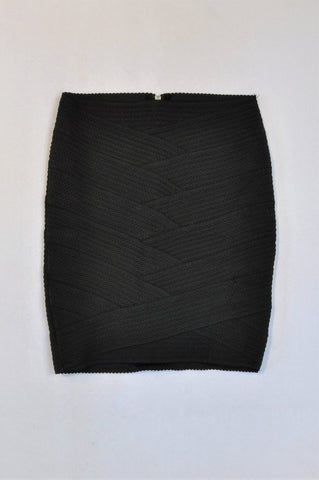 New H&M Black Cross Over Ribbed Skirt Women Size XS