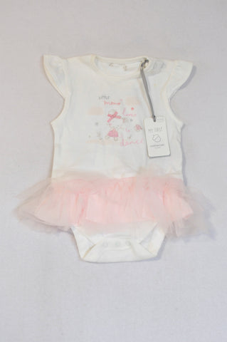 New Mothercare White Dancing Mouse Pink Tutu Baby Grow Girls 6-9 months