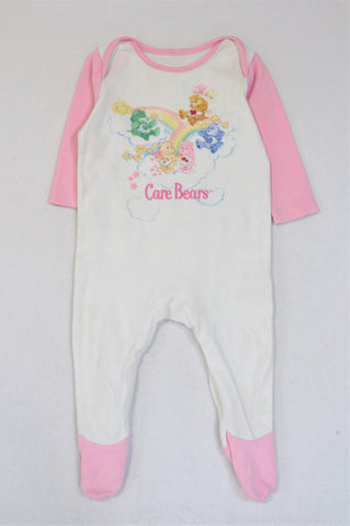 Mothercare Pink & White Care Bears Onesie Girls 6-9 months