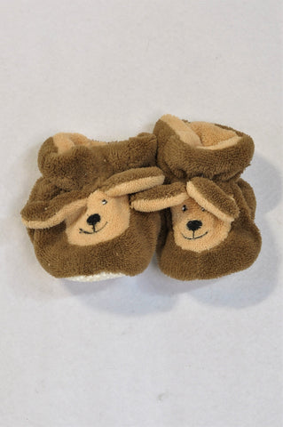 Ackermans Size 1 Brown Bear Fleece Slippers Unisex 3-6 months