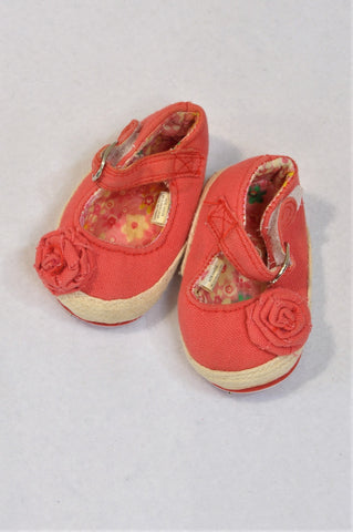 Ackermans Size 1 Coral Flower Espadrille Strap Shoes Girls 3-6 months