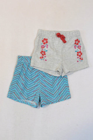Ackermans 2 Pack Grey & Blue Flower Shorts Girls 12-18 months