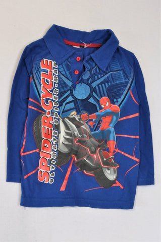 Unbranded Blue Spiderman Collared Long Sleeve T-shirt Boys 4-5 years