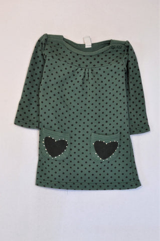 Zara Green Dotty Heart Pocket Long Sleeve Dress Girls 4-5 years