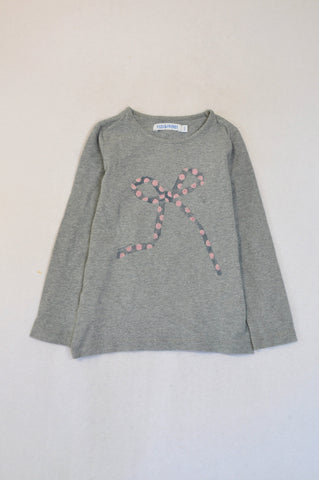 Filou & Friends Grey Pink Dotty Bow Print Long Sleeve T-shirt Girls 4-5 years