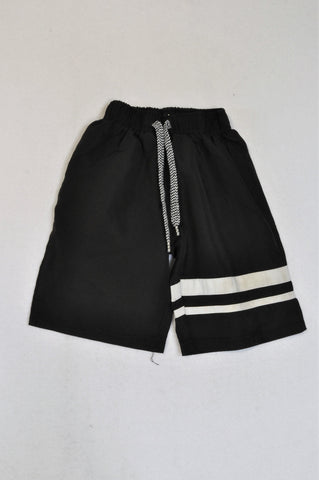 Ackermans Basic Black White Stripe Swim Shorts Boys 3-4 years