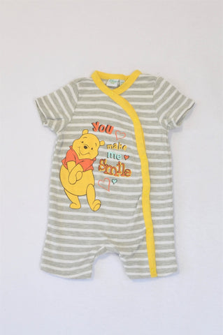 Disney Grey And White Stripe You Make Me Smile Winnie The Pooh Romper Unisex 0-3 months