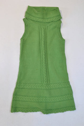 Unbranded Green Cable Knit High Neck Dress Girls 7-8 years