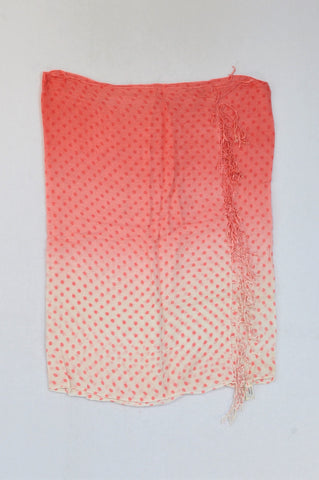 Woolworths Pink & White Polka Dot Ombre Tassel Scarf Women