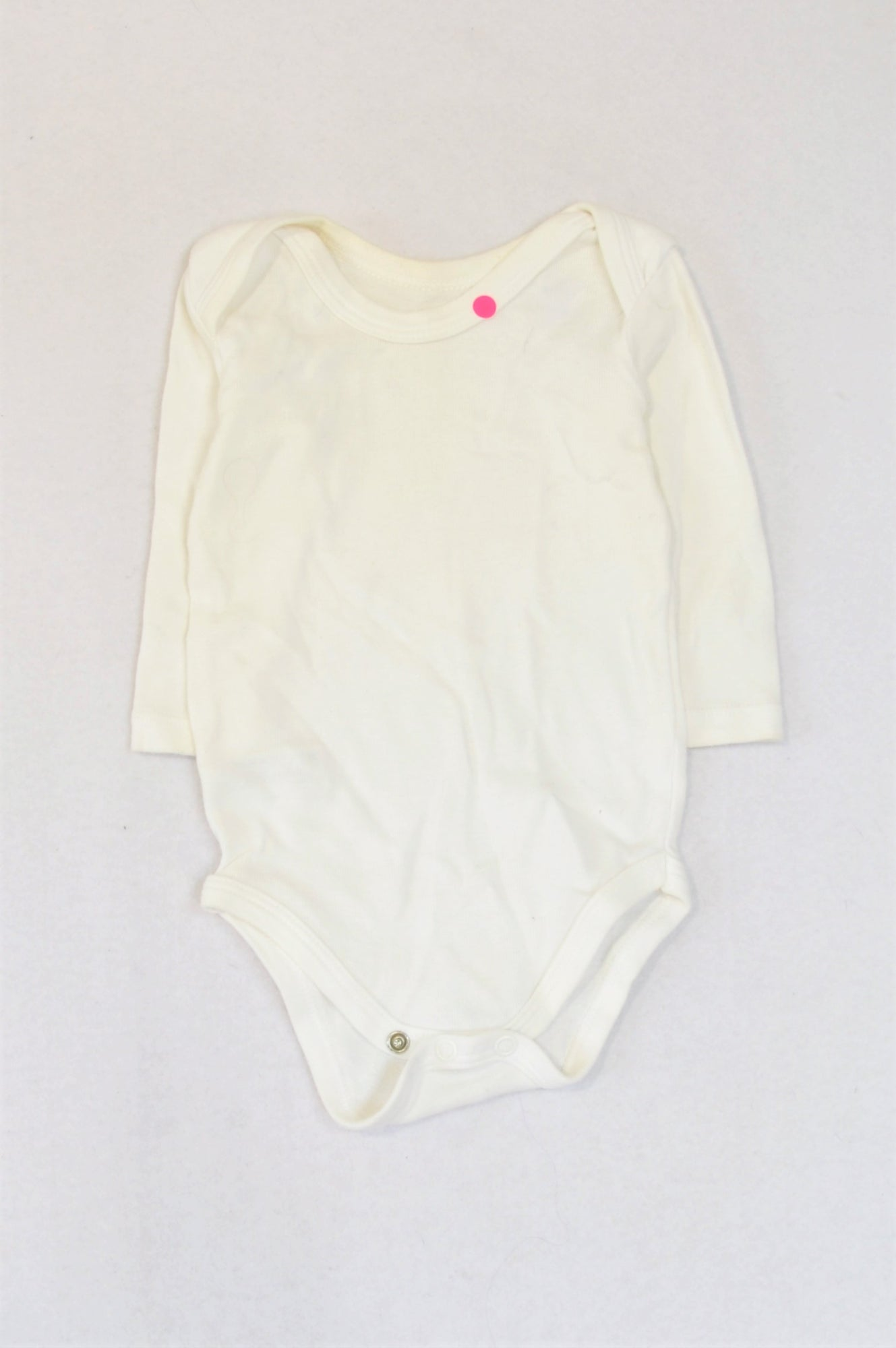 Woolworths Basic White Long Sleeve Baby Grow Unisex 3-6 months