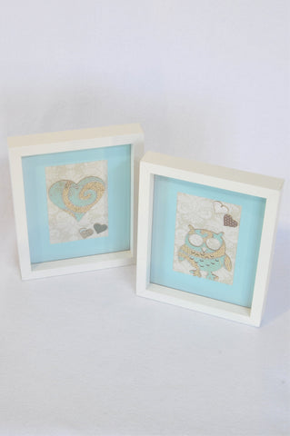 Unbranded 2x White Frame With Blue And Grey Owl And Heart Design  Decor Unisex