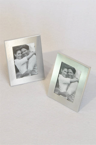 Unbranded 2x Silver 6x8cm Photo Frame Set Decor Unisex/Women
