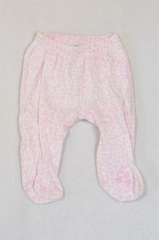 Ackermans Pink Leopard Footed Leggings Girls 0-3 months