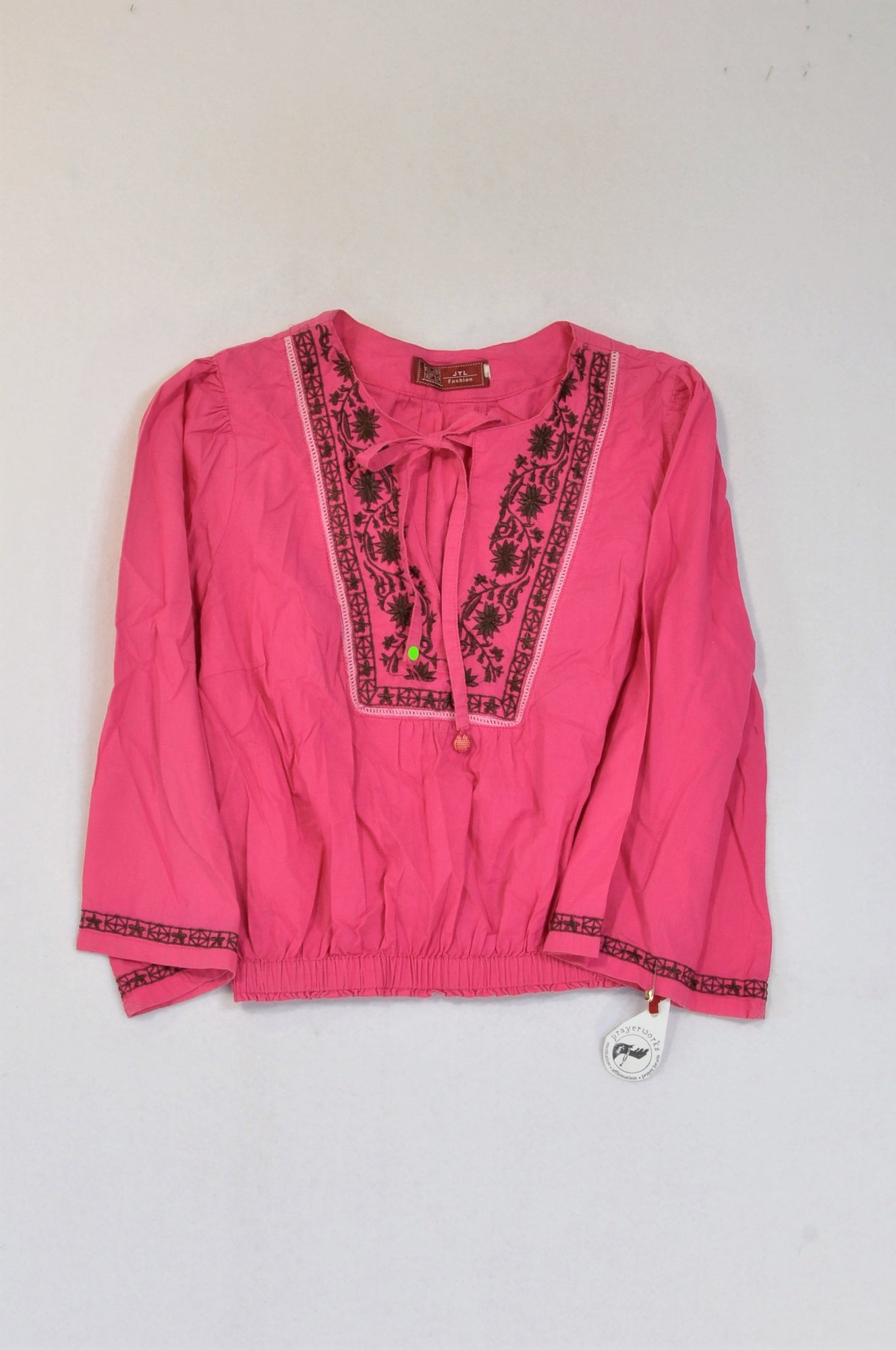 JYL Fashion Pink & Brown Embroidered Trim Blouse Women Size L