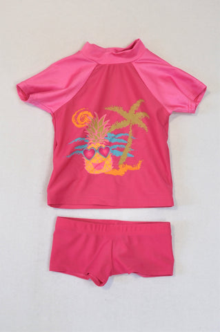 Ackermans Set Pink Pineapple Island Swimwear Girls 12-18 months