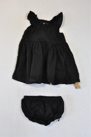 New Fresh Produce Black Speckled Dress & Bloomer Outfit Girls 6-12 months