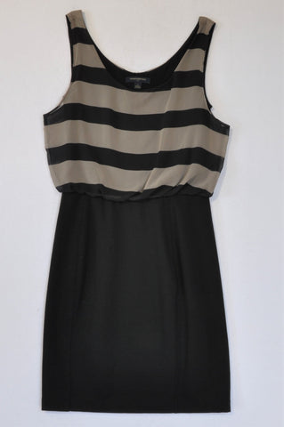 Banana Republic Grey And Black Stripe Bodice Dress Women Size XS