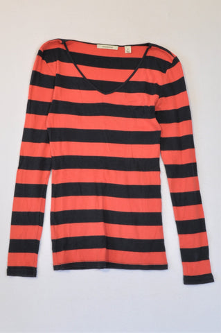 Country Road Red And Black Horizontal Stripe Long Sleeve T-shirt Women Size XS