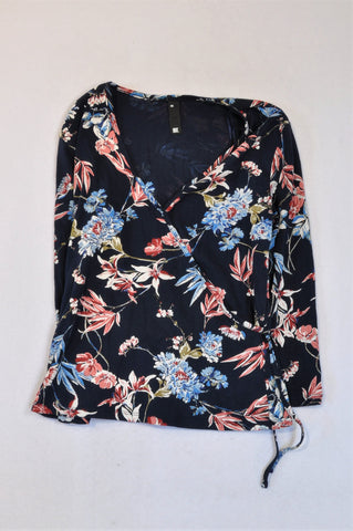 Woolworths Navy Floral Long Sleeve Top Women Size XS