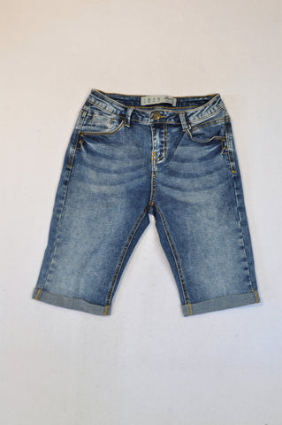 Primark Roll Up Denim Bermuda Shorts Women Size 4
