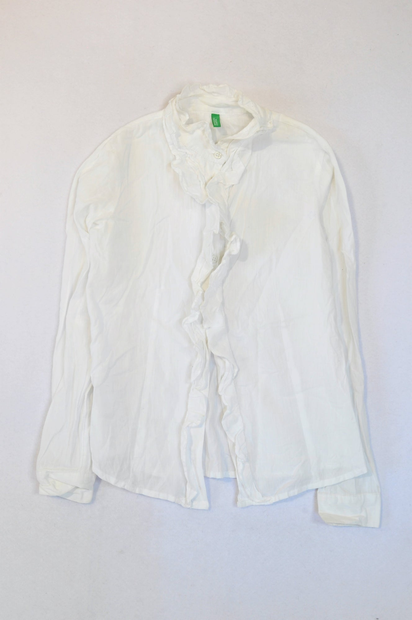 United Colors of Benetton White Frill Long Sleeve Blouse Girls 10-11 years
