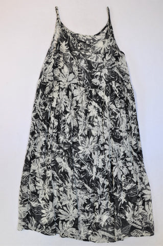 Unbranded Navy & White Sheer Floral Dress Women Size M