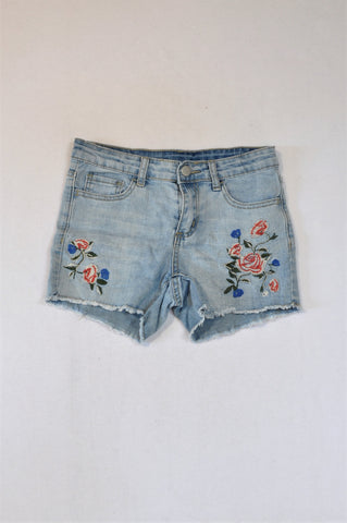 &US Light Denim Rose Shorts Girls 12-13 years