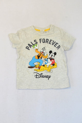 H&M Grey Heathered Mickey Mouse & Friends Pals Forever T-shirt Unisex 9-12 months