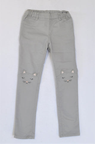 H&M Grey With Cat Faces On Knees Pants Girls 6-7 years