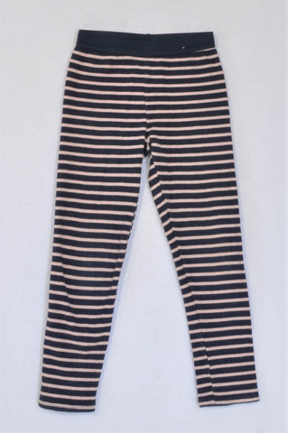 Cotton On Pink And Navy Stripe Ribbed Leggings Girls 3-4 years