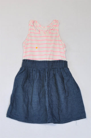 Woolworths Pink Stripe Racerback Bodice And Denim Skirt Dress Girls 4-5 years