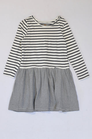 Cotton On Black And White Stripes Long Sleeve Dress Girls 4-5 years