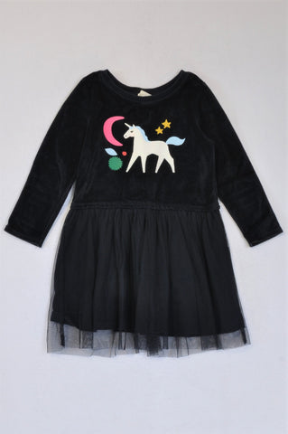 Cotton On Velour Navy Unicorn With Netting Skirt Long Sleeve Dress Girls 3-4 years