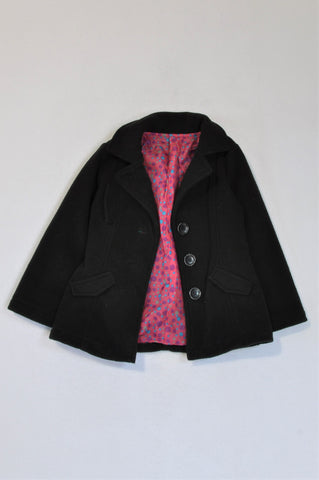 Woolworths Black With Pink Polka Dot Lining Coat Girls 3-4 years