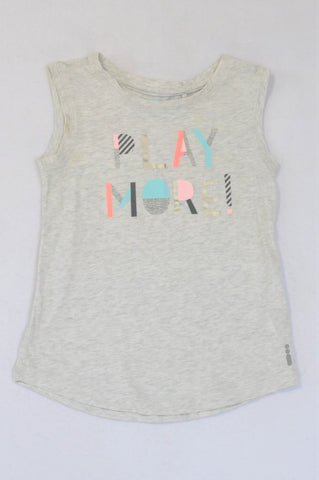 Cotton On Heathered Grey Play More Tank T-shirt Girls 5-6 years