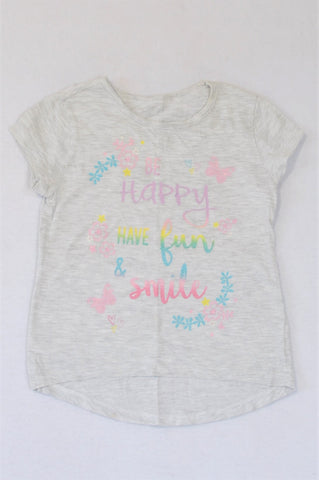 Woolworths Light Heathered Grey Be Happy Have Fun And Smile T-shirt Girls 5-6 years