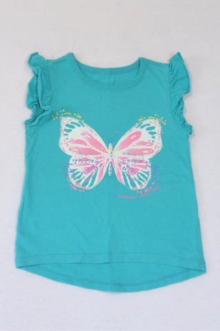Woolworths Aqua Blue With Butterfly T-shirt Girls 5-6 years