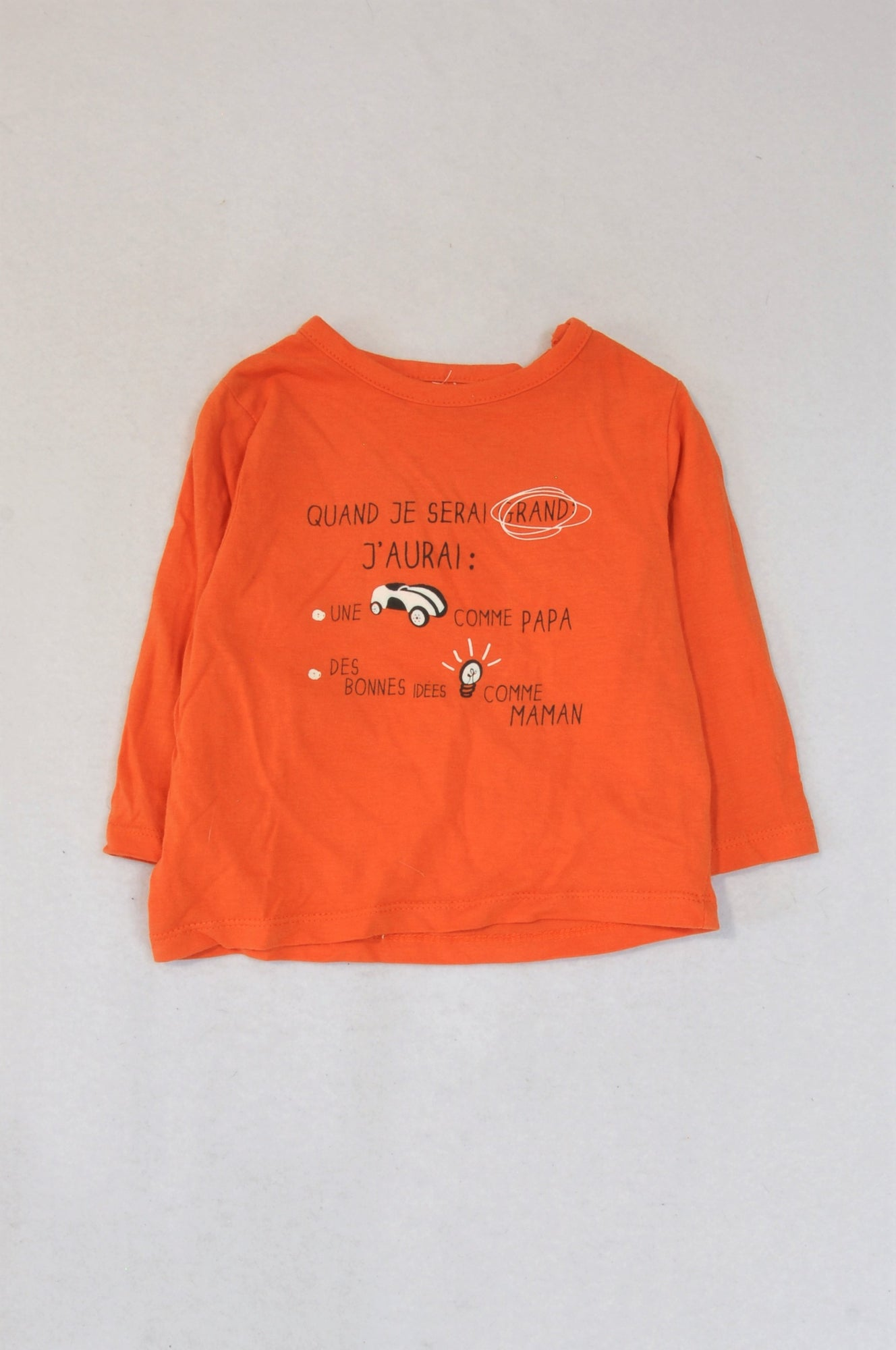 Unbranded Orange Quand Je Serai Grand Long Sleeve T-shirt Boys 0-3 months