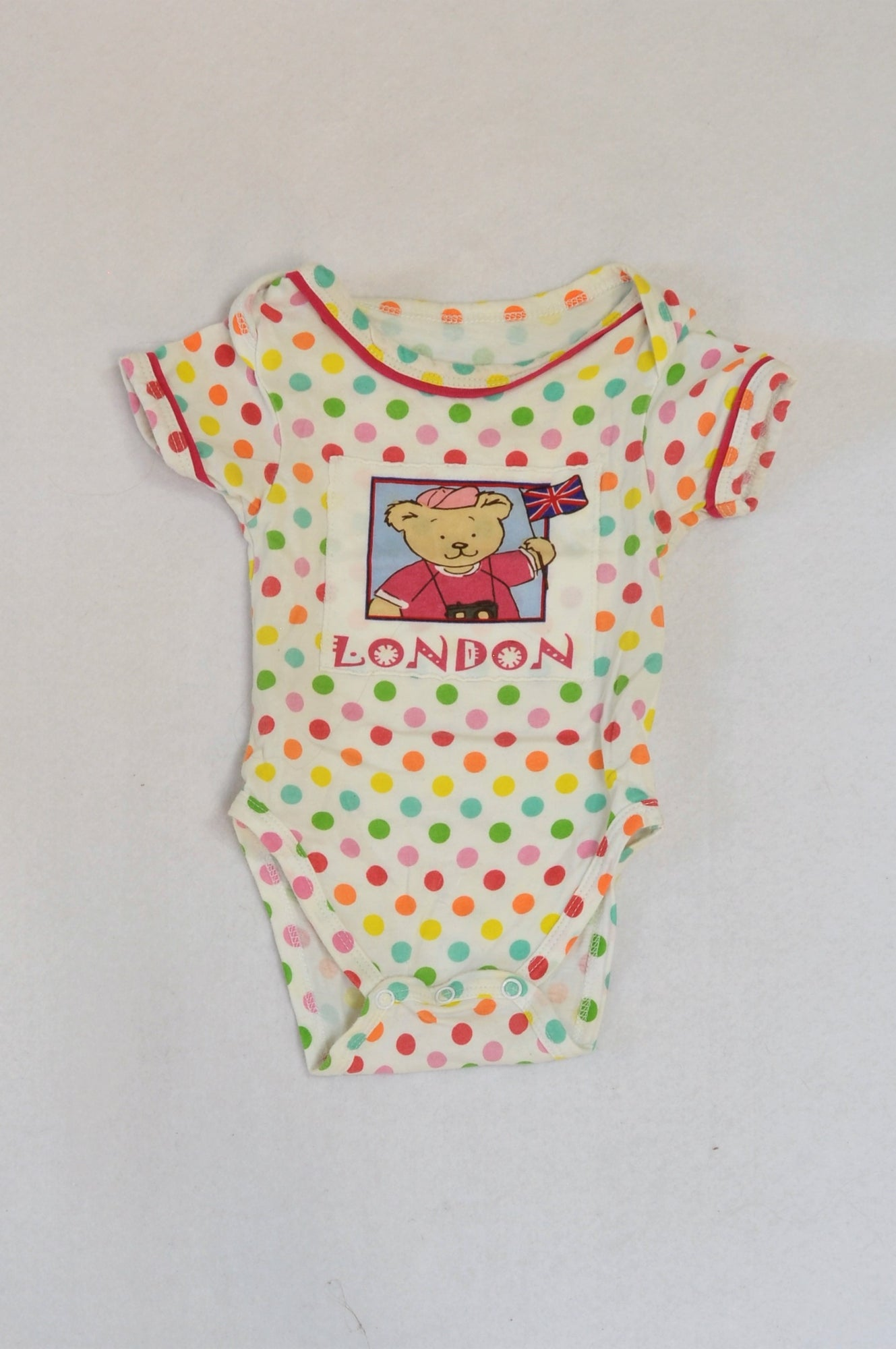 Spike White & Multi Colour Dotty London Bear Baby Grow Girls 3-6 months