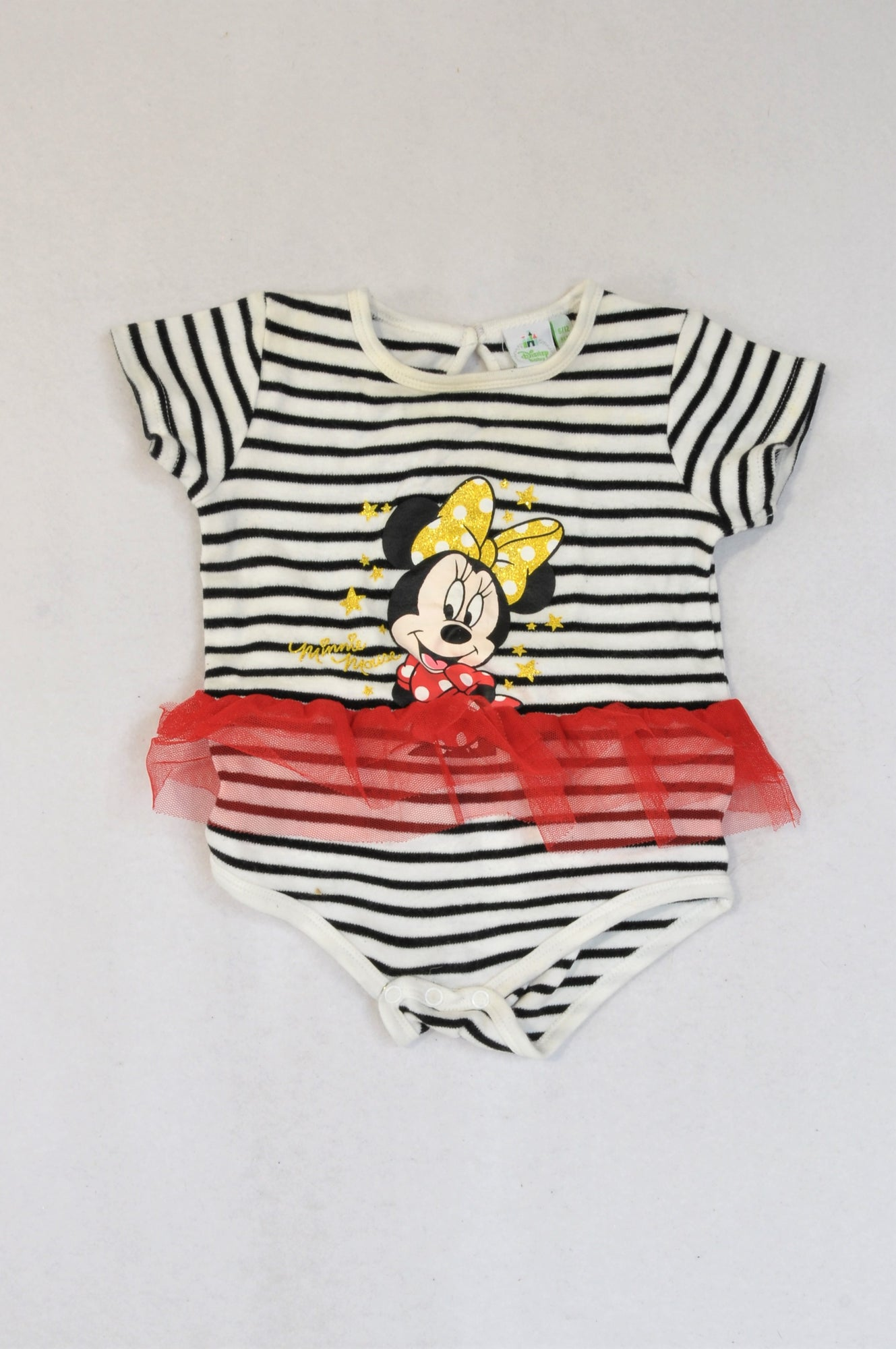 Disney Black Stripe Minnie Mouse Tulle Baby Grow Girls 6-12 months