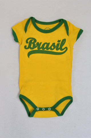 Basic Baby Yellow Green Trim Brasil Baby Grow Unisex 6-9 months