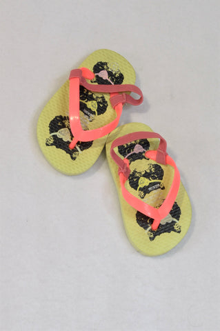 Unbranded Size 3 Green & Pink Pirate Cat Flip Flops Girls 9-12 months