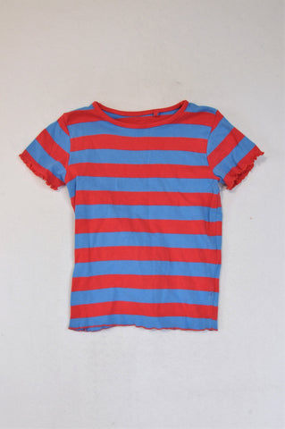 Cotton On Red & Blue Broad Stripe Ruffle Hem Sleeve T-shirt Girls 7-8 years