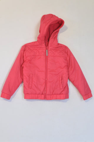 Woolworths Bright Pink Fleece Lined Hooded Jacket Girls 5-6 years