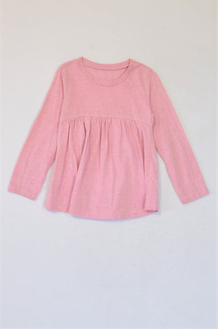 Woolworths Heathered Pink Long Sleeve Baby Doll T-shirt Girls 3-4 years